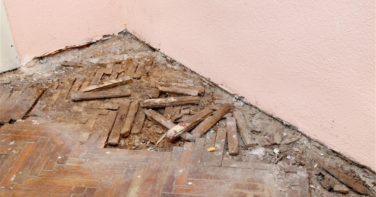 Old rotten demolished oak parquet in abandoned house